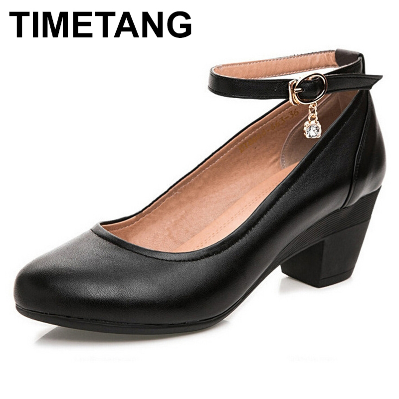 TIMETANG New Women's High Heels Pumps Sexy Party Thick Heel Round Toe Genuine Leather High Heel Shoes for office lady Women Plus