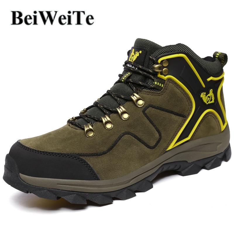 BeiWeiTe Hiver Hommes bottes de randonnée de Trekking Doublé De Fourrure Chameau Neige Sneakers Pour Hommes Escalade Sentier de Randonnée Antidérapant chaussures de sortie