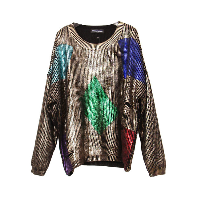 2017 Spring  Fashion New Geometry Spelling Color Gilding or Silver plate Loose Edition Sweatshirt Woman YD51808