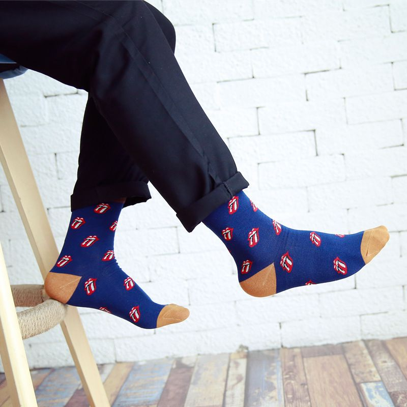 5 Pairs/Lot Red Lips Men Socks Casual Fashion Brand Cotton Sock Cheap Meias Cool Mens Happy Funny Socks Art Calcetines Hombre