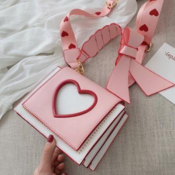 Shoulder Bags Heart Handbags Autumn Fashion Designer Crossbody Bag for Women High Quality Casual Flap Female Pink Messenger Bags