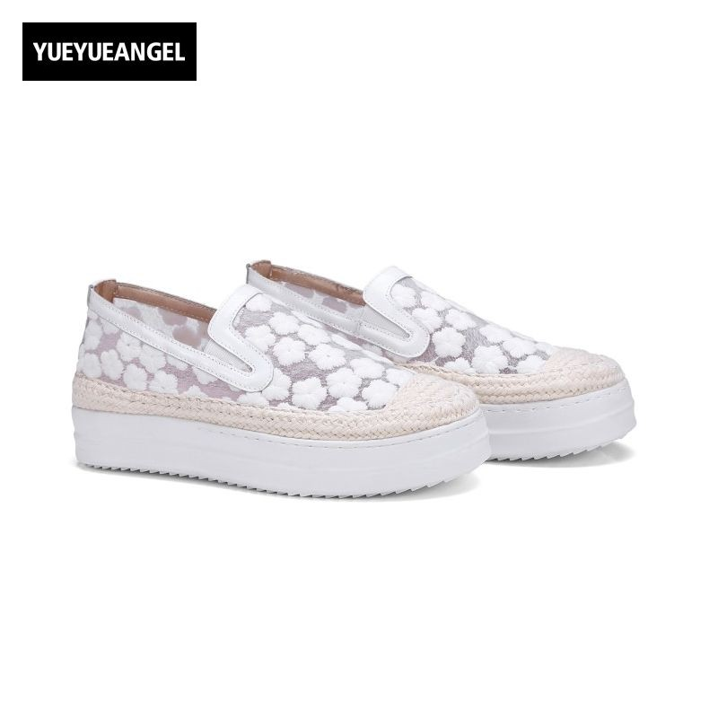 High Heel Round Toe Mesh Casual Shoes Women New Fashion Slip On Female Footwear Plus Size Floral Pink Schoenen Vrouw Sapatos female high quality sweet bow knot plus size 35 44 round toe women shoes on flats casual footwear matching shoes and bags italy