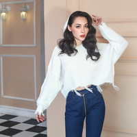 Crop Hooded Sweater Winter Woman Sweater Knitting Pullovers Autumn Sweater Shirt Crop Top Female