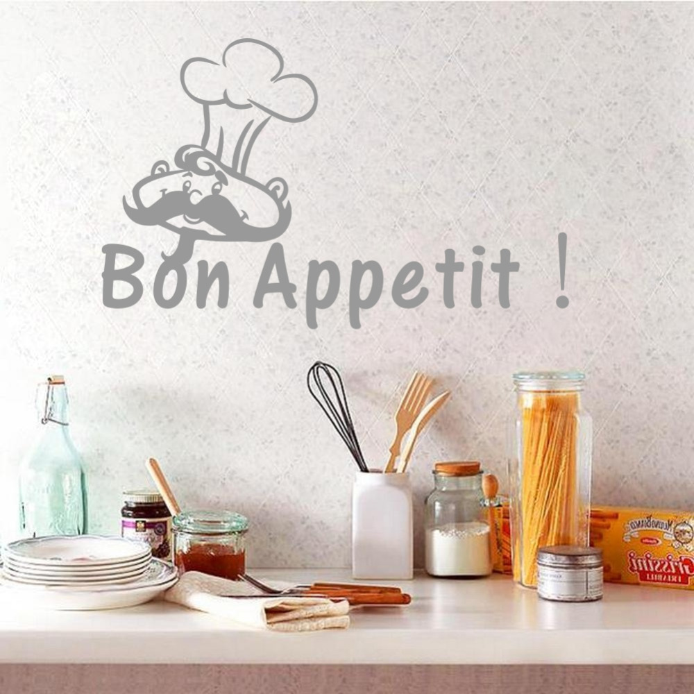 Creative Kitchen Quote French Wall Decal Bon Appetit Vinyl Decor Sticker for Resturant Dining Room