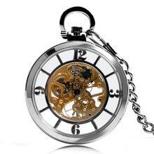 הגעה חדשה כסף פתוח פנים חיוג שלד שעון כיס מכאני יד רוח Fob שעון שרשרת אבזר Relogio דה Bolso