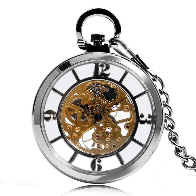 New Arrival Silver Open Face Dial Skeleton Pocket Watch Mechanical Hand Wind Fob Clock  Necklace Accessory Relogio De Bolso