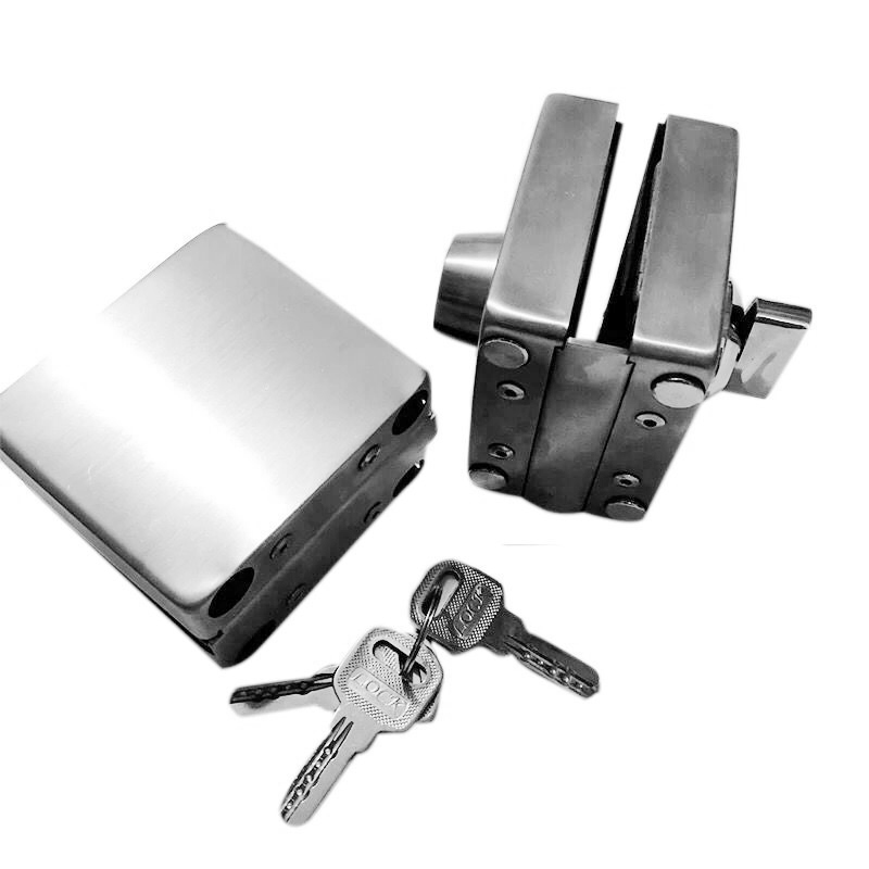 Stainless Steel 10-12mm Glass Door Lock Double Sides Open No Drilling Gate Lock LO88
