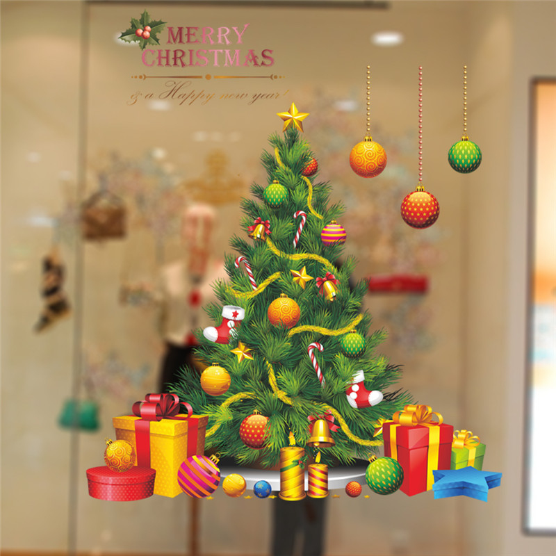 merry christmas tree wall stickers home decoration decals diy festival party mural art xmas gift