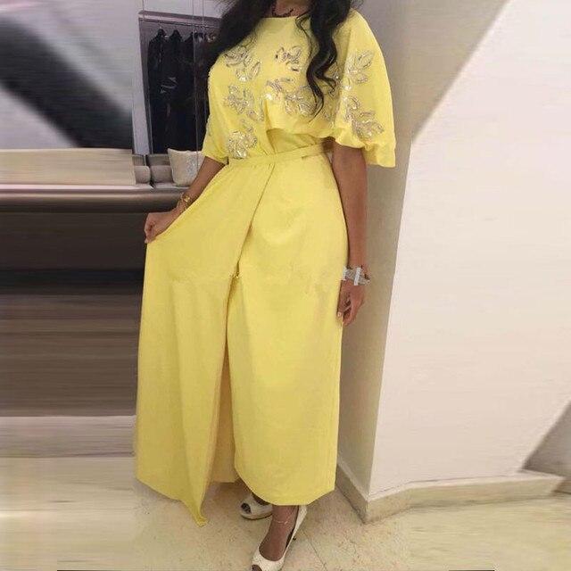 Gelb Abendkleider Pailletten Sicke Bodenlangen Robe Dubai Abaya ...