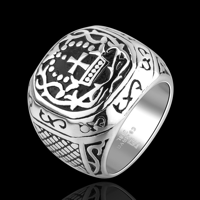 Fashion Retro Men S Cross Rings Stainless Steel Mysterious Rune Patterns Square Wedding Bands Old School Punk