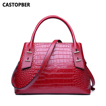 2020 European and American Style Women Crocodile Pattern Cow Genuine Leather Tote Handbags Fashion Designer Shoulder Bags Famous