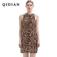 QI DIAN S-XL Vestido Plus Größe Hat elastizität Leopard Mode Schlank Strand Kleid Mädchen Club Sexy Knie Vestidos Frauen kleidung