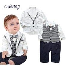 0-2 years baby suit kinderkleding gentleman boys clothes set gestreepte + overalls mode baby boy kleding pasgeboren