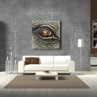 Oeil De Lu0027éléphant Animal Mur Art Toile Peinture À Lu0027huile Décor À