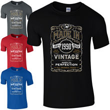 Made in 1990 T-Shirt Born 28th Year Birthday Age Present Vintage Funny Mens Gift Print T Shirt Short Sleeve  free shipng
