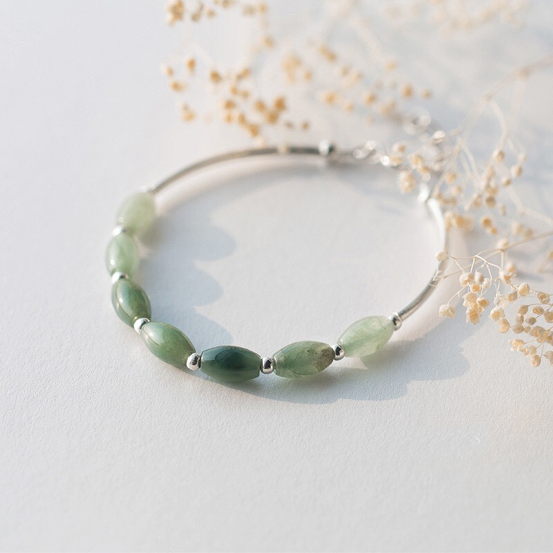 HTB1QsXeXUvrK1RjSspcq6zzSXXaS Ruifan 925 Sterling Silver Bracelets Ladies Natural Green Jade Oval Waterdrop Lucky Bead Charms Women's Bracelet Jewelry YBR098
