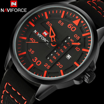 NAVIFORCE Fashion Sports Men Quartz Watches Leather Strap Luxury Brand Watches Man Red Dials 30M Waterproof Relogio Masculino image
