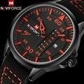 Naviforce homens dos esportes da forma relógios de quartzo pulseira de couro relógios de luxo da marca homem mostradores vermelhos 30 m à prova d' água relogio masculino