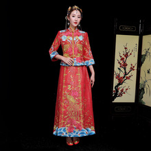 Chinese traditional Bride clothing style wedding dress female peacock and folwer gown slim cheongsam couple evening