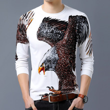 new spring 2018 men's round neck long sleeve knit thin section eagle printing leisure fashion city sweater
