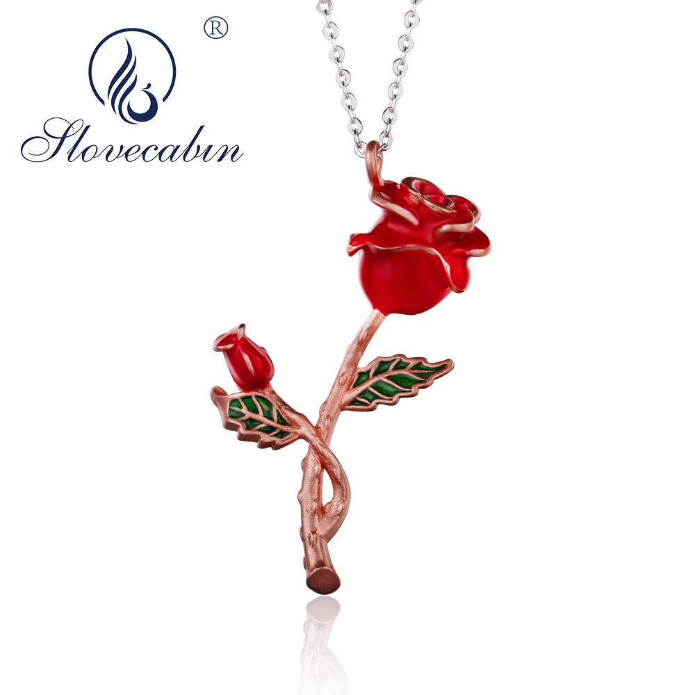 Slovecabin 2018 Summer Three Color Rose Flower Choker Pendant With Chain Bloom Necklace 925 Sterling Silver Women's Necklace