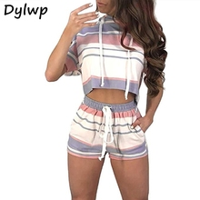 2 Piece Set Women Short Sleeve Striped Hooded Crop Top And Drawstring Shorts 2019 Summer Female Vintage Streetwear Movement Set hooded crop top and drawstring camo pants