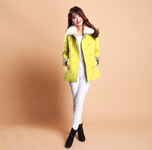 2016 Europe new style winter women's clothing Woolen cloth coat elegant slim lapel long sleeve pure color keep warm coat D-0910