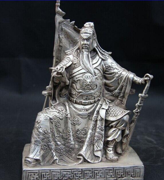 Bi003752 Chinese White Copper Silver Dragon Guan Gong Guan Yu Buddha God Book Flag Statue