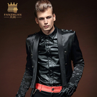 FANZHUAN Brands Clothing High Quality Jacket Men Autumn Designer Fashion Epaulet Night Club Stage Winds Men's Short Coats Black