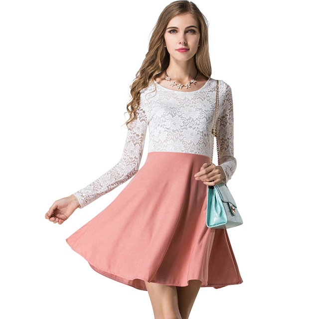 07de6ab0fa Novelty design women lace patchwork dress Western vogue ladies summer  dresses long sleeve o-neck vestidos free shipping