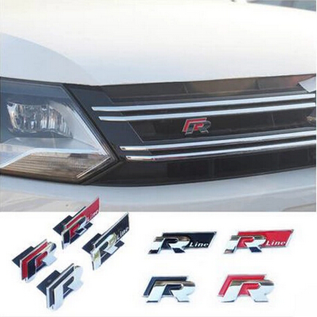 Rline 3D Metal Car Stickers for VW Volkswagen Automobiles R line Refit Badge Car Emblem Accessories Sticker Car-Styling dragon emperor kaiser loong imperial chinese character script 3d metal diy car auto motorcycle badge emblem sticker car styling
