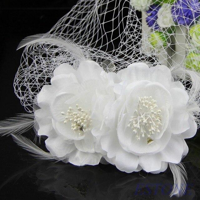 Women head wear bridal birdcage veil fascinator white feather flower women head wear bridal birdcage veil fascinator white feather flower with comb mightylinksfo