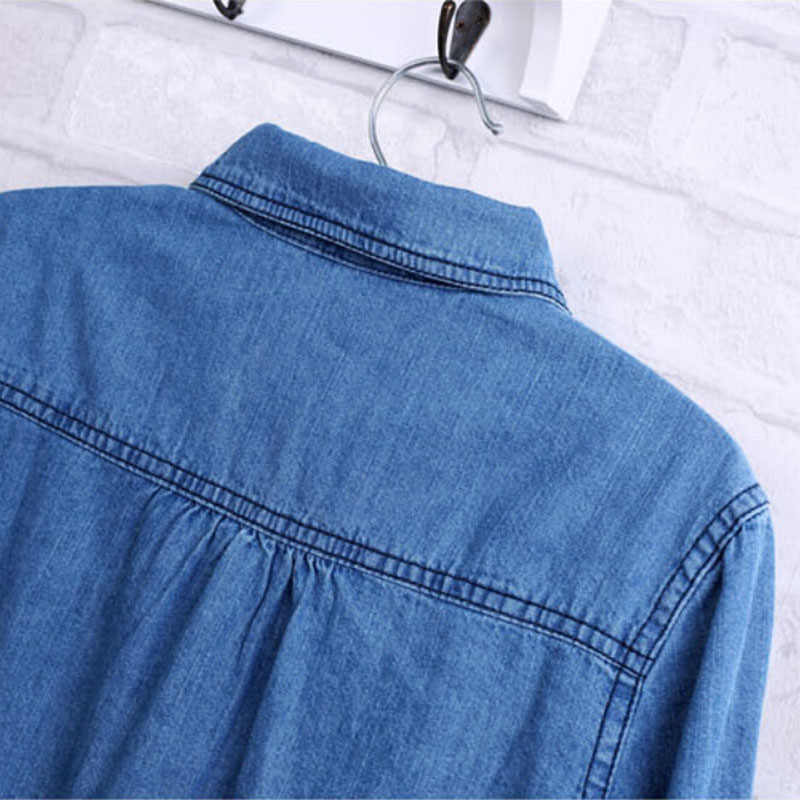 6dd91acfc ... Free Ostrich 2019 Women Clothes Blouse Long Sleeves Denim Shirt  Nostalgic Vintage Blue Jeans Shirt Camisa