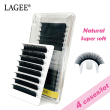 Get more info on the LAGEE 4Cases/Lot Natural Synthetic Mink Individual Eyelash Extension Soft False Lash makeup cilios for professional perfect use