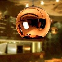 Modern Nordic Lustre Copper Glass Ball Lampshade Pendant Light Chrome Global Pendant Lamps Kitchen Luminaria Light