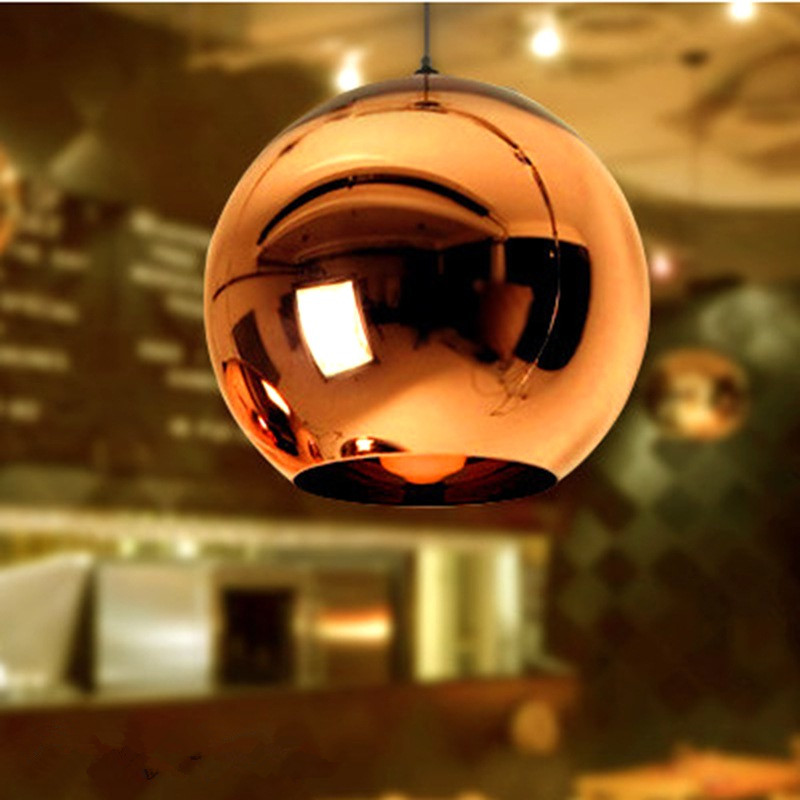 Globe Copper Color Glass Mirror Ball Pendant Light