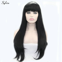 Sylvia 1B natural black synthetic lace front wigs women replacement hair with bang silky straight long soft heat resistant fiber