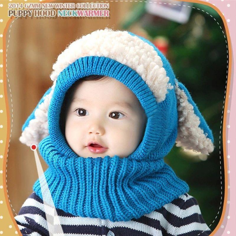 Infant Kleinkind Baby Winter Warm Häkeln Gestrickte Hut Kontrast Farbe Plüsch Patchwork Mit Kapuze Earflap Nette Welpen Ohren Beanie Cap