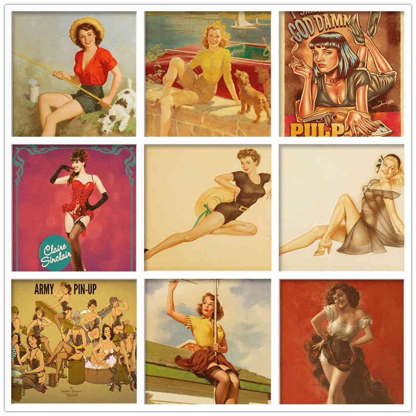 Retro poster World War II Sexy pin up Girl Poster Military Bar Cafe ...