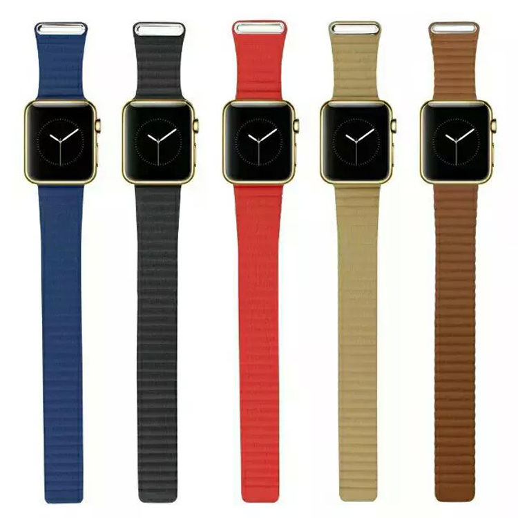 Original Loop Strap Bracelet Magnetic Buckle Leather Band for iWatch Apple Watch / Sport / Edition 42mm 38mm Watchband 5 Colors 38 42mm leather strap cuff bracelet watch bands for apple watch for iwatch 5 colors new hot selling