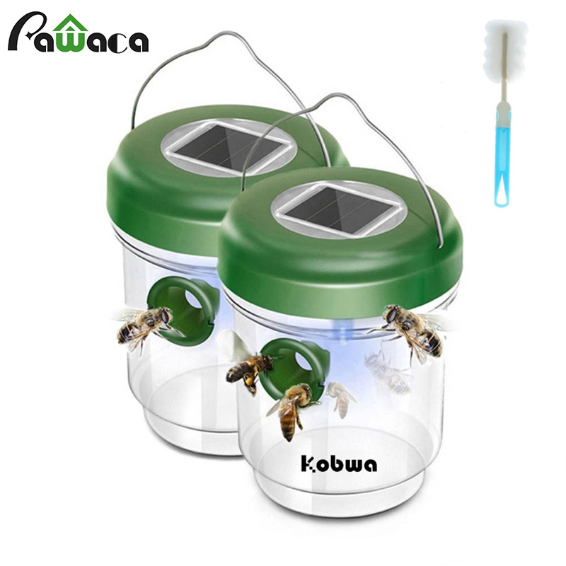 Bee Catcher Wasp Trap Catcher Solar Powered Flying Suspension LED Bee Hornet Trap Catcher Hanging Non-toxic Insect Control Tools
