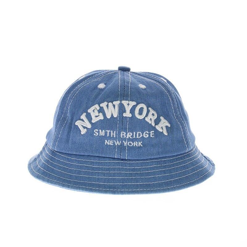 Baby Toddler Bucket Sun Protection NEW YORK Printed Hat, Wide Brim Denims Bucket Hat, Floppy Hat Baby Sun Blocking Hats
