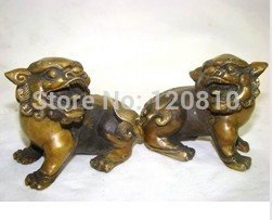 Excellent Mongolia brass statue pair of foo dogs/Lions