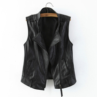 Female Black Leather Vest Fashion Zipper Motorcycle Leather Clothing Women's All Match PU Leather Waistcoat Plus Size 3XL