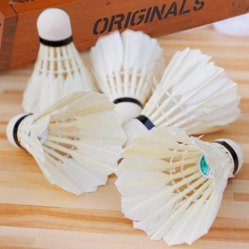 5pcs Game Sport Training White Duck Feather Shuttlecocks Birdies Badminton Pu Sport