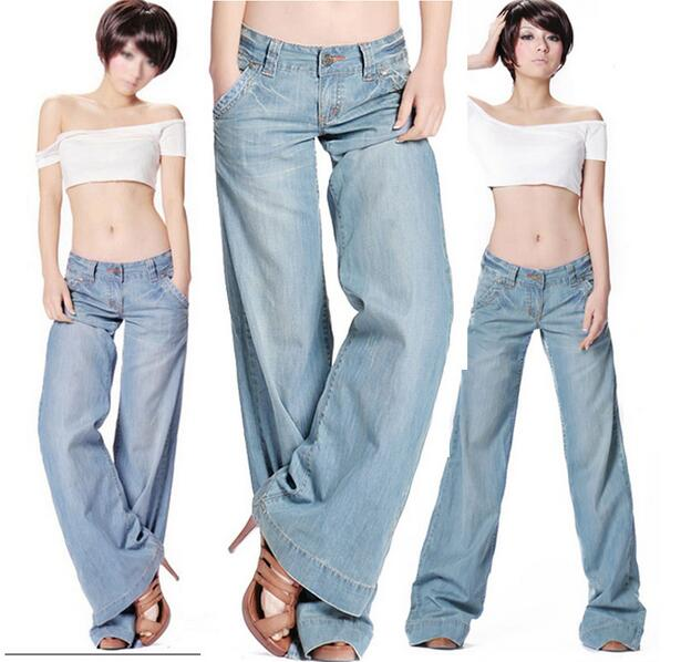 Plus size bell bottom mid waist slim butt lifting loose wide leg flare women s jeans