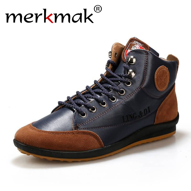 New 2018 Men Leather Boots Fashion Autumn Winter Warm Cotton Brand Ankle Boots Lace Up Men