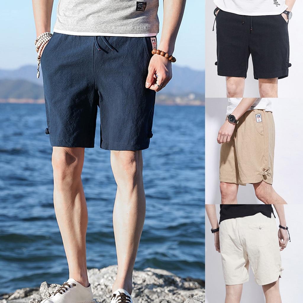 Beautiful Short Pants Men Sport Summer Casual Short Pants Cotton Elastic Waist Belt Drawstring Beach Surfing Short Pants L0319