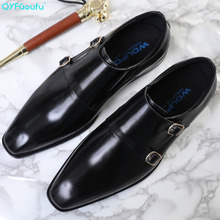 QYFCIOUFU 2019 New Handmade Genuine Leather Formal Shoes Men Luxury Wedding Derby Square Toe Double Monk Strap