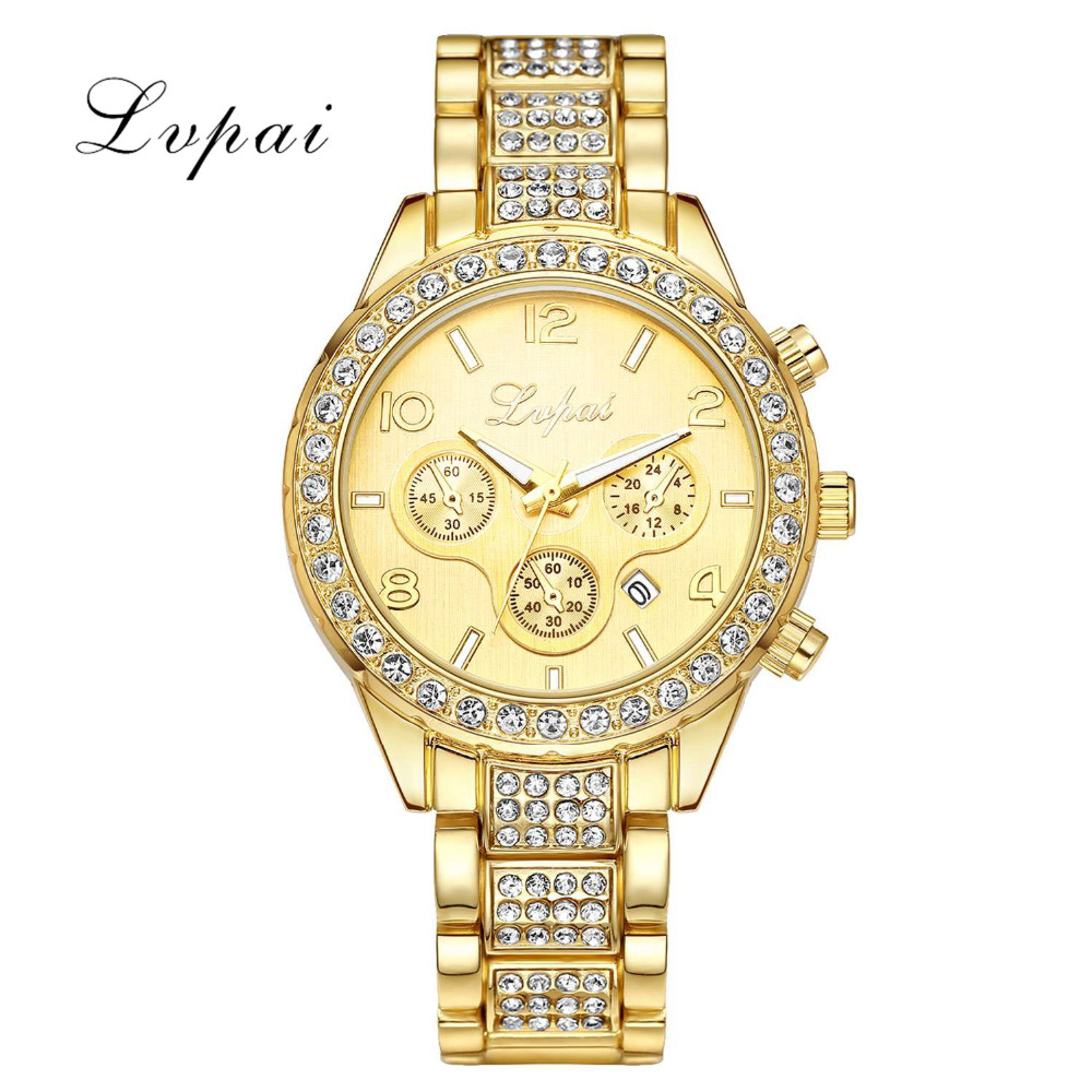 Lvpai Brand Watches For Women Luxury Crystal Bracelet Quartz Wristwatch Simple Ladies Business Stainless Steel Watch LP002 skone fashion simple watches for women lady quartz wristwatch stainless steel band watch for woman relogio femininos